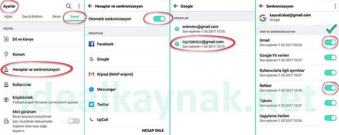 Android'de Gmail Senkronizasyon Ayarları