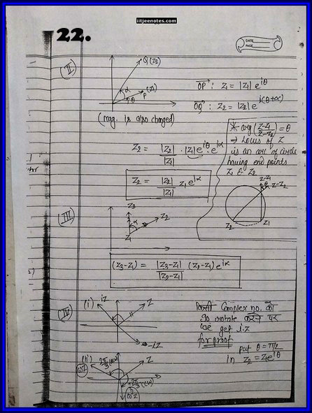 iitjee notes on complex number 22