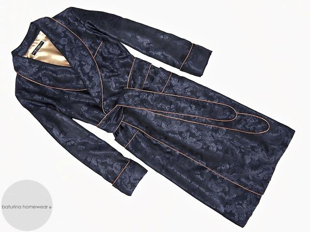 Men's blue paisley silk dressing gown gentleman's morning robe long lightweight