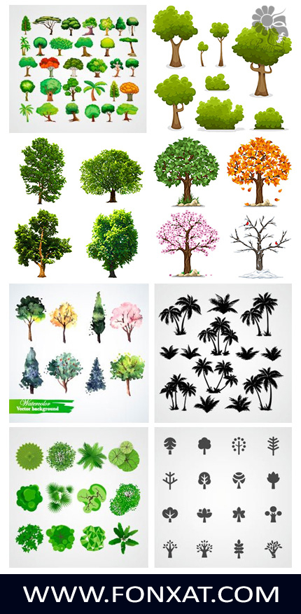 Download vector illustrations of various trees