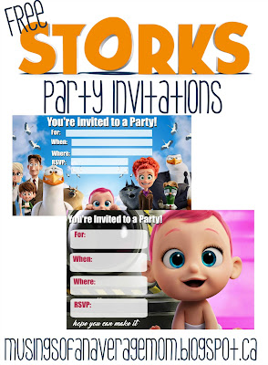 Storks movie birthday printables
