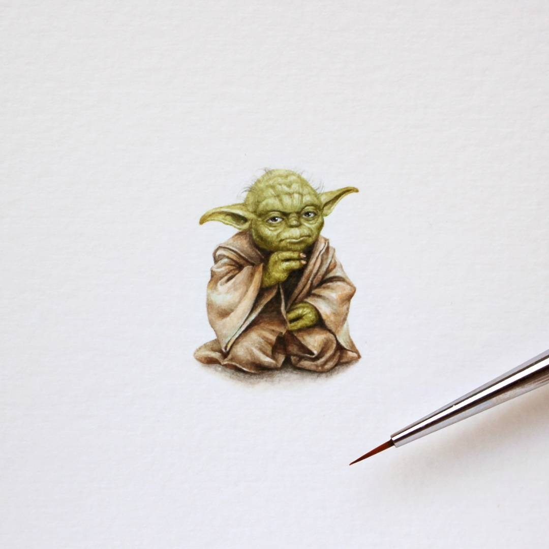 08-Yoda-Julia-Las-Tiny-Animal-Watercolor-Paintings-and-Other-Miniatures-www-designstack-co