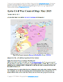 Map of fighting and territorial control in Syria's Civil War (Free Syrian Army rebels, Kurdish groups, Al-Nusra Front, Islamic State (ISIS/ISIL) and others), updated for late May 2015. Highlights recent locations of conflict and territorial control changes, such as Palmyra, Jisr al-Shughur, al-Janf border crossing, and others.