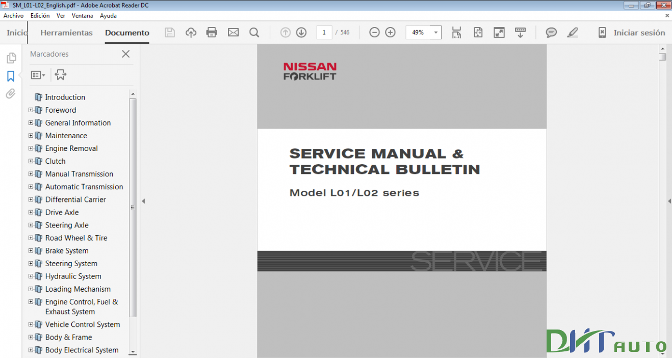 Nissan Forklift 2013 Service Manual