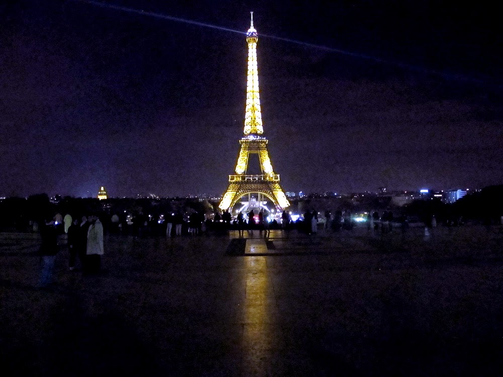Eiffel Tower at night in Paris