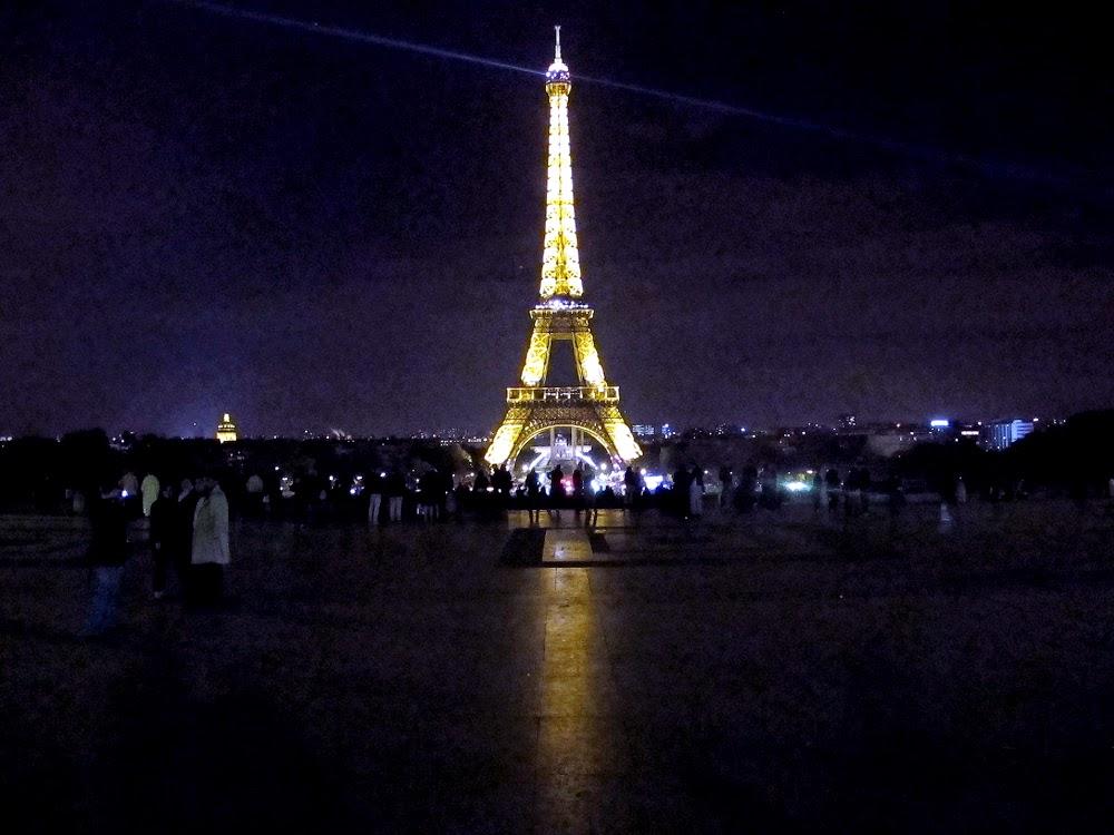Eiffel Tower at night in Paris