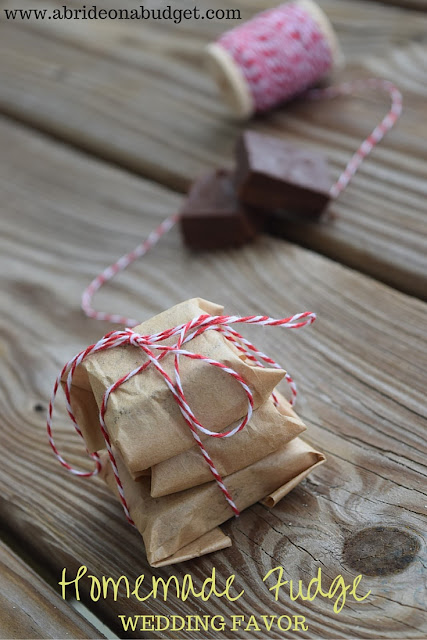 Looking for a cheap and easy treat? Check out this TWO-INGREDIENT homemade fudge from www.abrideonabudget.com. Seriously, it's a perfect homemade wedding favor -- or any party favor, really. And just two ingredients (which you may already have at home!). Pin now, make it later.