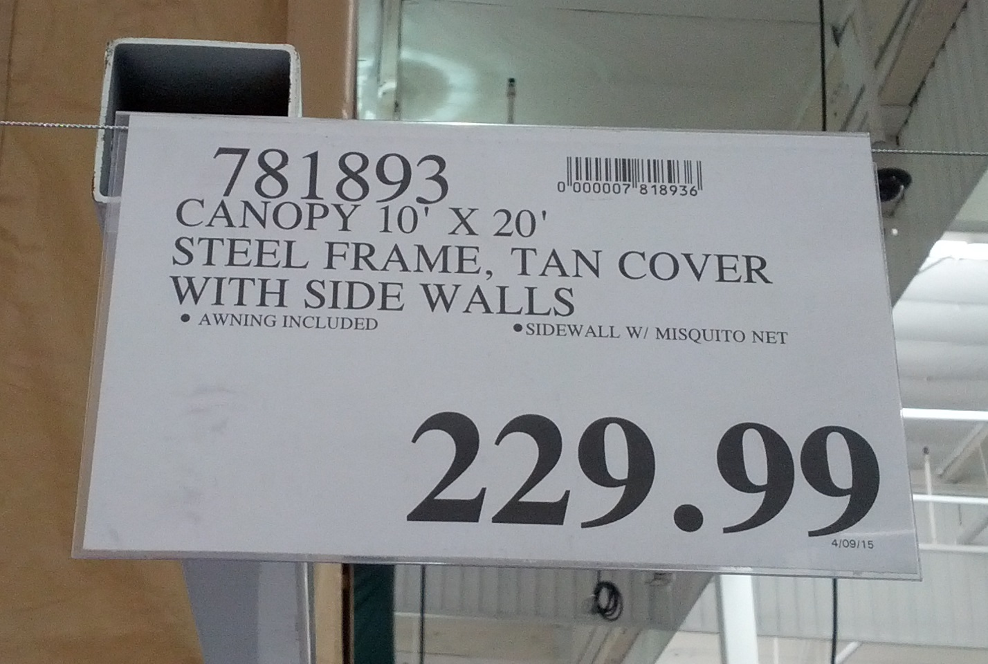 Steel Frame Canopy with Side Walls (Tan Cover) | Costco
