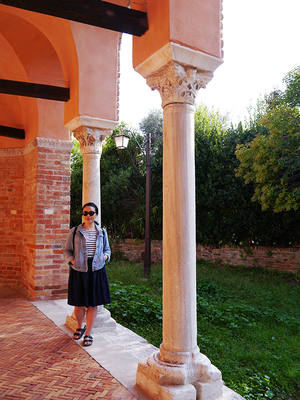 Columns of the old monastery on Torcello island in Venice, Italy
