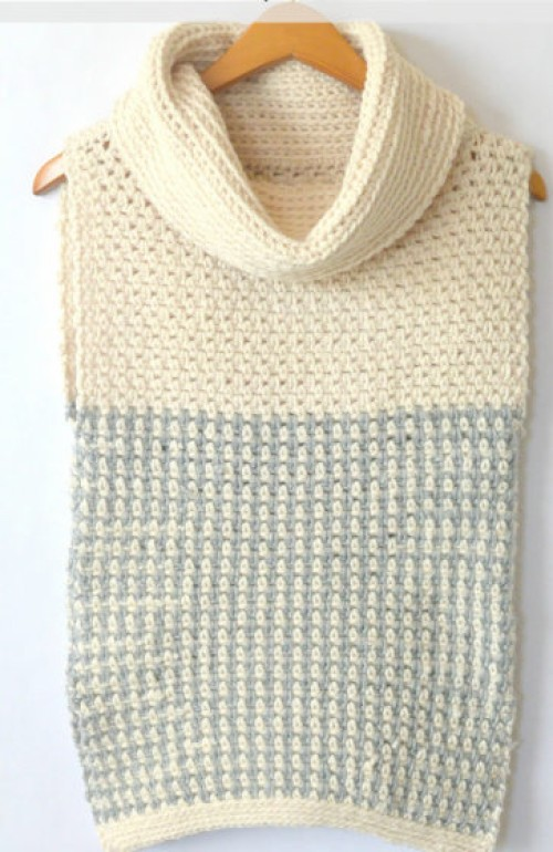 Easy Crochet Cowled Sweater Vest - Free Pattern