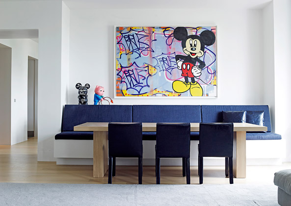 Mickey Mouse modern art in Paris dining room design by Piet Boon