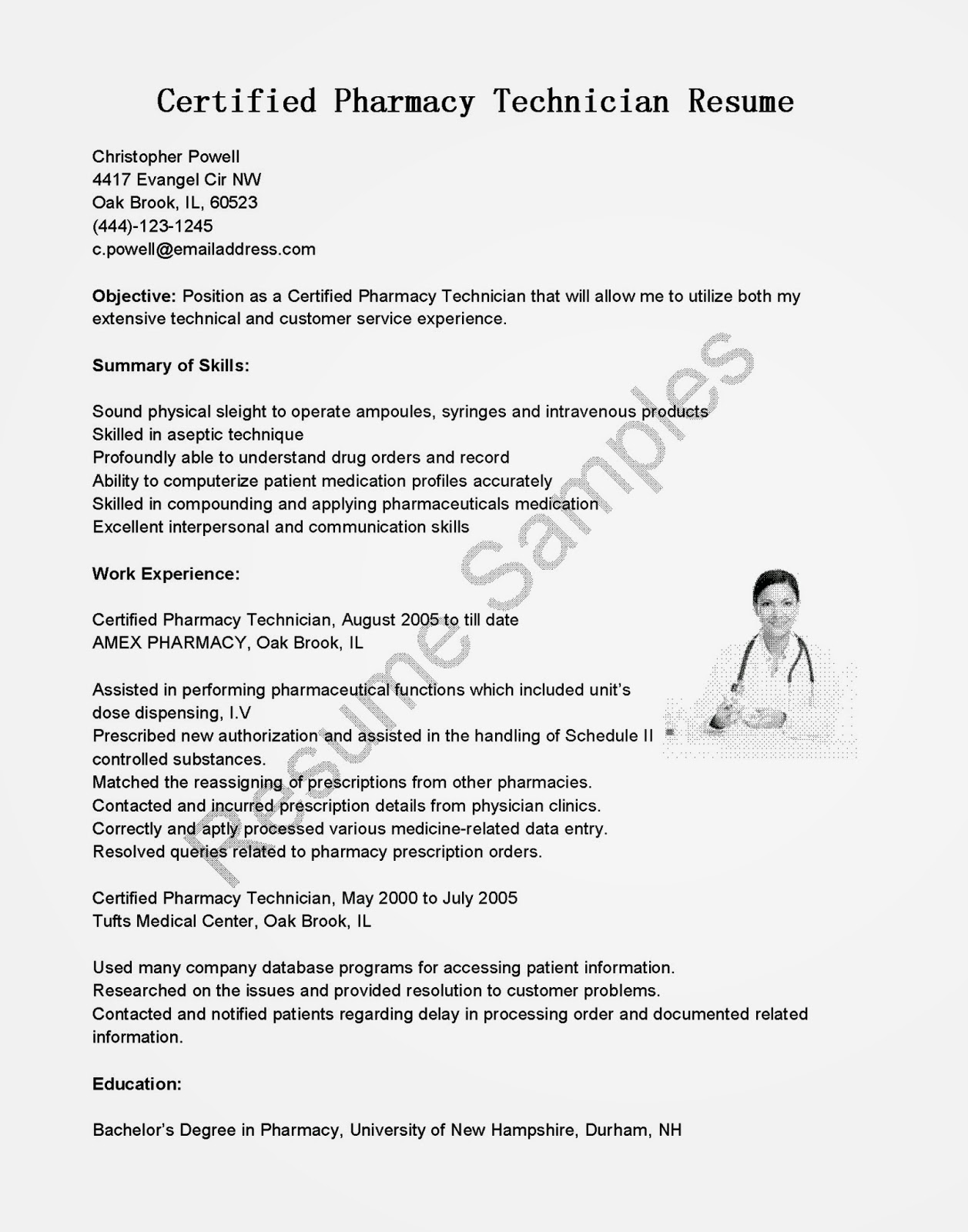 Examples Of Pharmacy Technician Resumes Resume Samples Certified Pharmacy Technician Resume Sample