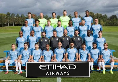 Manchester City team photograph of players for the season