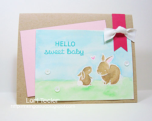 Hello Sweet Baby card-designed by Lori Tecler/Inking Aloud-stamps from Lawn Fawn