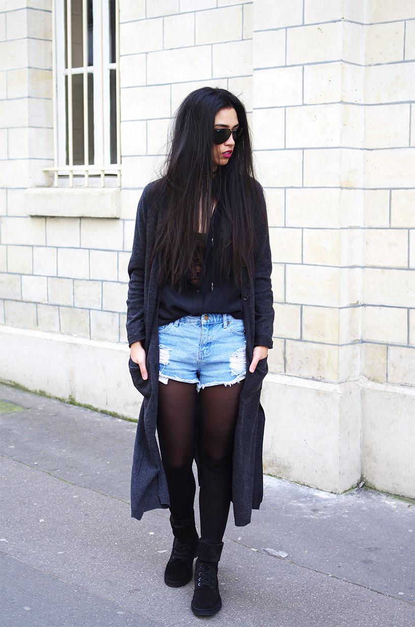 Elizabeth l Winter denim shorts outfit l THEDEETSONE l http://thedeetsone.blogspot.fr