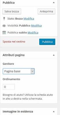 Pubblicare pagina wordpress
