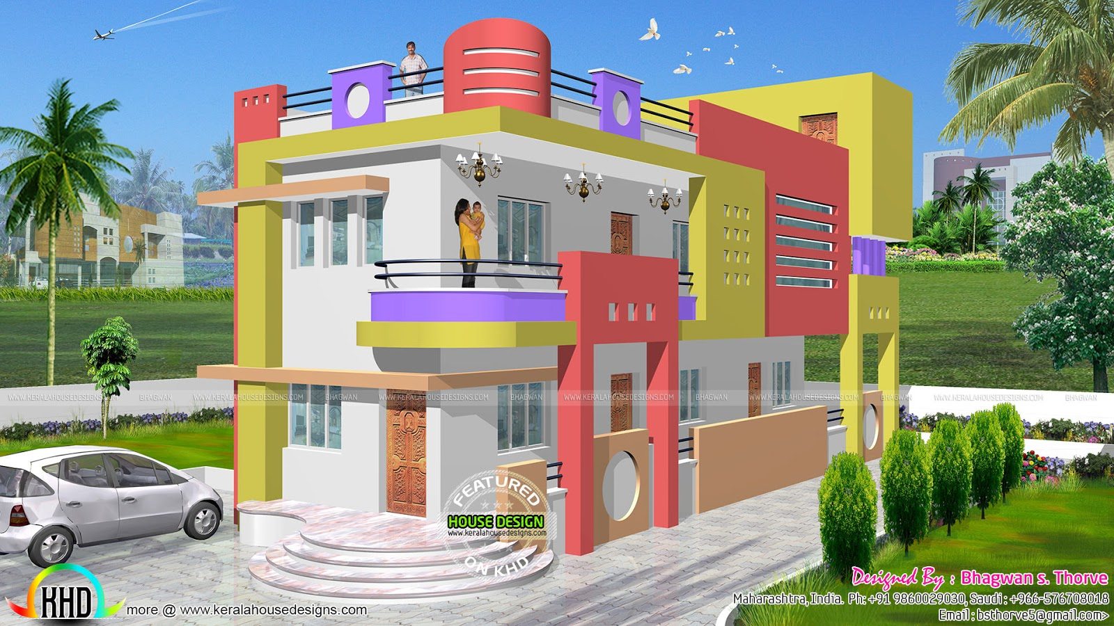 1600 sq ft colorful north indian home kerala home design for Modern house plans for 1600 sq ft