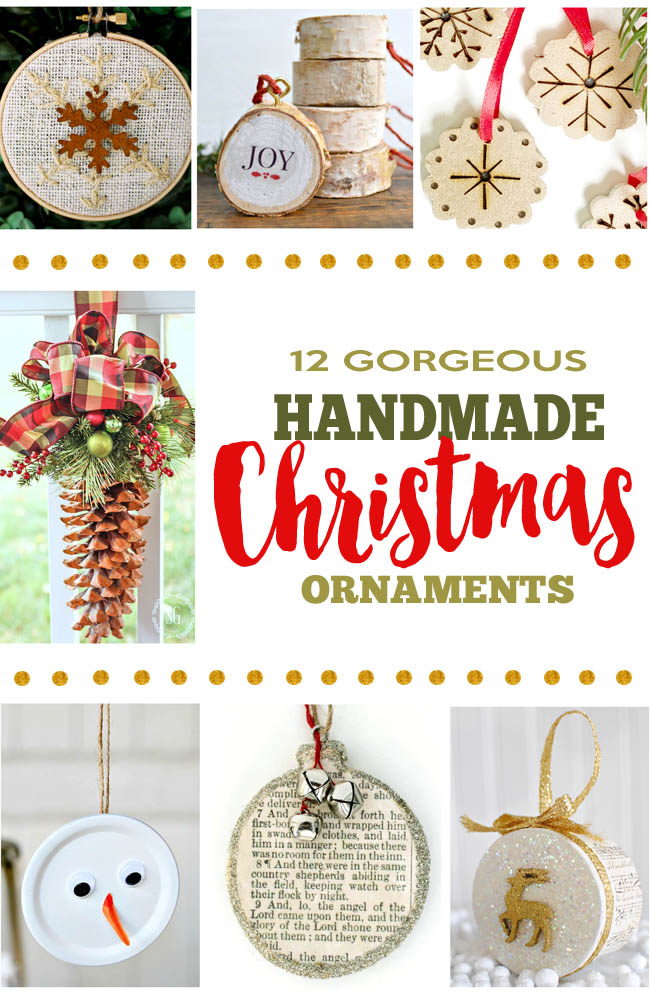 rustic handmade Christmas ornaments from bloggers diy projects