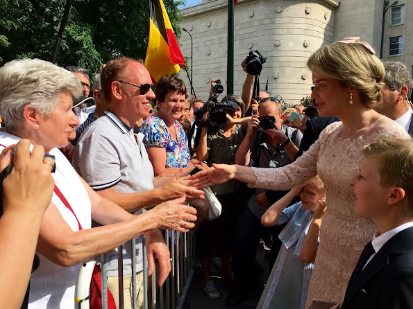 King Philippe, Queen Mathilde, Crown Princess Elisabeth, Princess Eleonore, Prince Gabriel and Prince Emmanuel, wore Natan Lace Dress