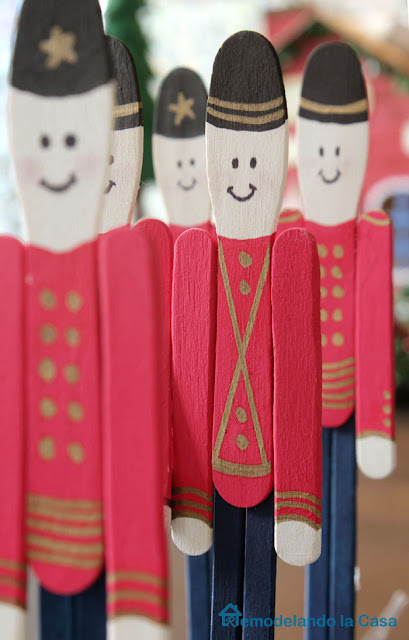 a parade of soldier sticks to decorate for Christmas