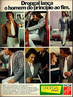 propaganda roupas Dropgal - anos 70, reclame anos 70.  moda anos 70; propaganda anos 70; história da década de 70; reclames anos 70; brazil in the 70s; Oswaldo Hernandez