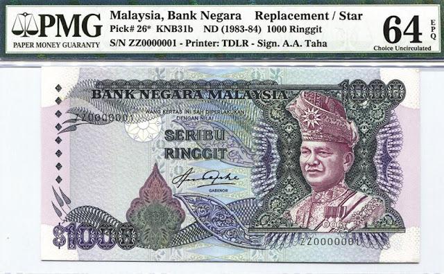 Gambar duit kertas seribu Ringgit Malaysia tahun 1983-1984