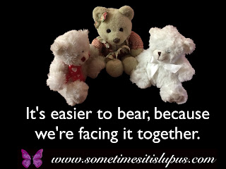 Image three toy polar bears. Text: It's easier to bear, because we're facing it together.