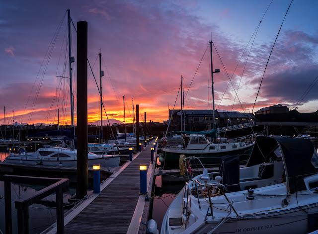 Photo of Wednesday morning's sunrise at Maryport Marina