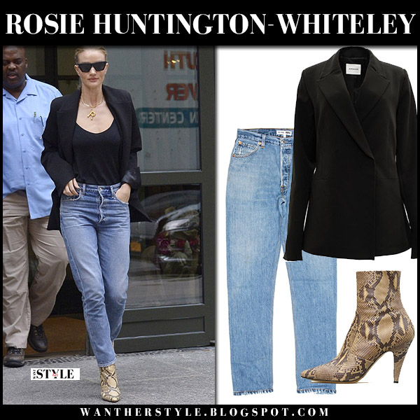 Rosie Huntington-Whiteley in black blazer, black camisole and jeans model off duty style august 16