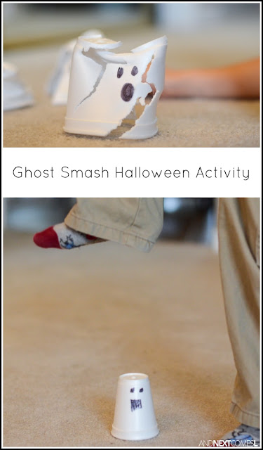 Ghost smashing Halloween activity for kids from And Next Comes L