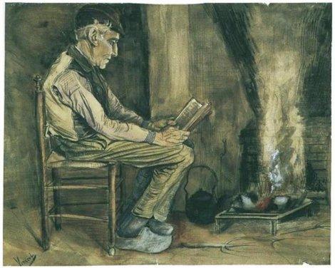 Agricultor sentado ao lado do fogo e lendo - Vincent Van Gogh