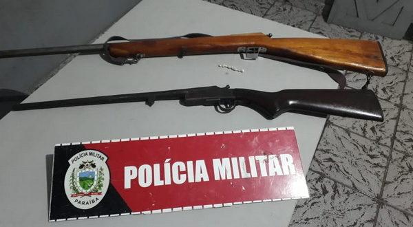 Em Juripiranga: Guarnição da PM apreende drogas e duas espingardas