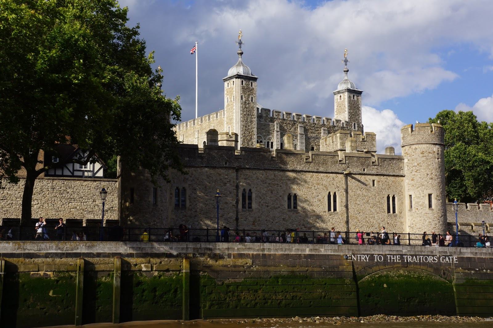 the london tower from the boat on the riverside