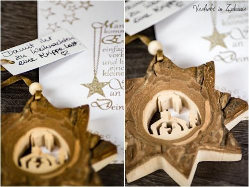 Holzanhänger als Stern : Im Inneren eine Krippe zu Weihnachten