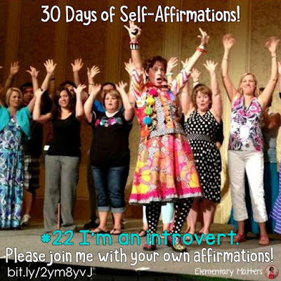 "30 Days of Self-Affirmations: Day 22: I am an introvert! For 30 days, I will be celebrating my own ""new year"" with self-affirmations. If you are interested in joining me, feel free to write your own affirmations here, or respond on my social media here: http://bit.ly/2JuKRW  See blog post here: http://bit.ly/2yxSAyq"