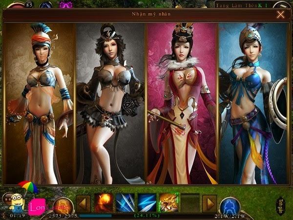 Hệ thống nhân vật ải mỹ nhân online