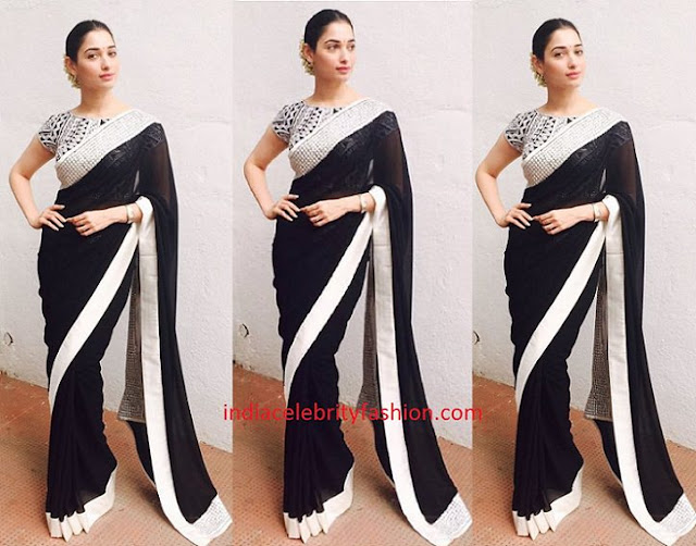 Tamannah Bhatia in AJSK Black Saree