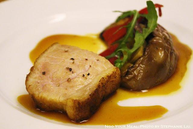 Medium Rare Pork with Eggplant at Spring in Paris