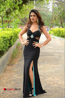 Actress Esha Agarwal  Pictures in Black Long Dress at at Lovers Park Movie Opening  0209.JPG