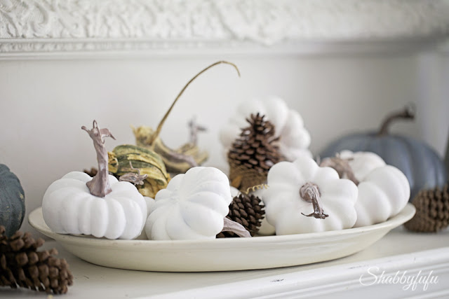 white pumpkins painted with chalk paint