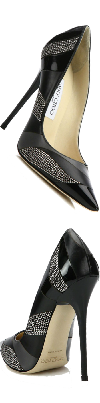 Jimmy Choo Anouk Studded Patchwork Leather Pumps Black
