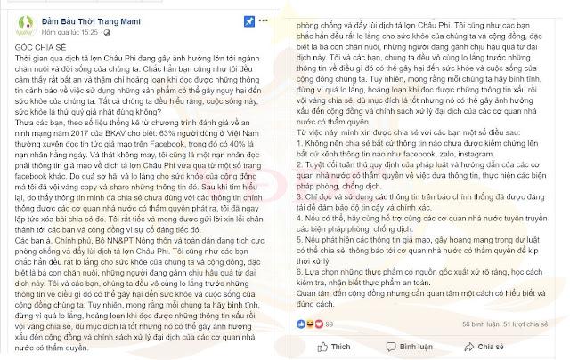 Phạt chủ trang facebook đầm bầu 20 triệu vì đưa tin không đúng về dịch tả heo Châu Phi