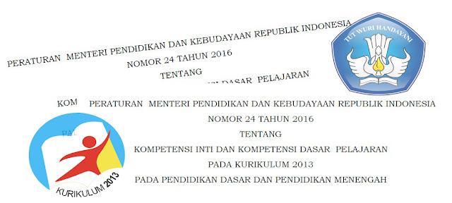Permendikbud Nomor 24 Tahun 2016 Tentang Kompetensi Inti (KI) dan Kompetensi Dasar (KD) Kurikulum 2013 SD, SMP, SMA