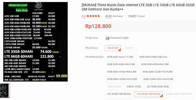 Kuota three 66 gb murah 2019