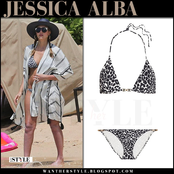 Jessica Alba in striped vix caftan and leopard print bikini tory burch celebrity beach style july 2017