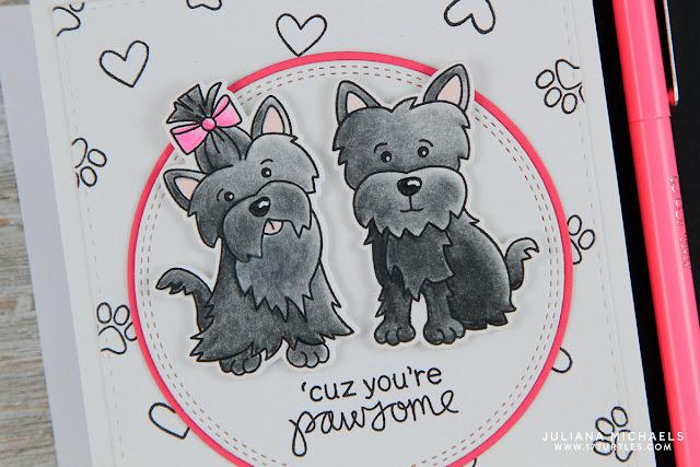 You're Pawsome Card by Juliana Michaels featuring Newton's Nook Designs Terrific Terriers Stamp and Die Set