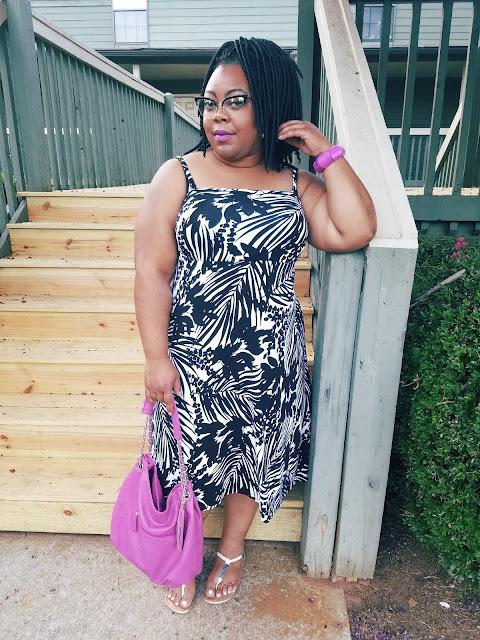Black and white, palm print dress, sundress, fucshia accessories, MAC Heroine lipstick