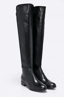 Cizme dama peste genunchi din piele naturala, negre fara toc pentru iarna de la Wojas