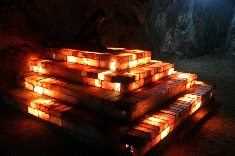 Illuminated Salt Bricks, Khewra Salt Mines Pakistan