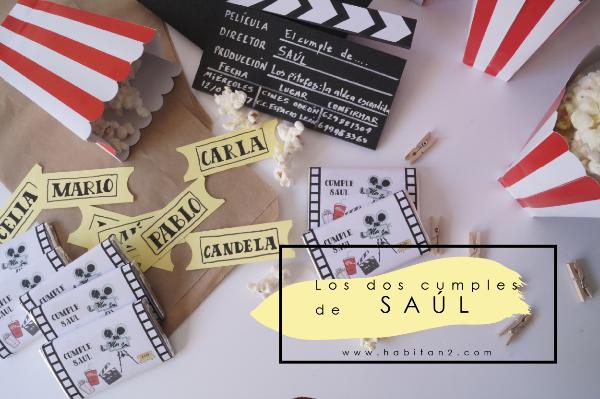 Los dos cumples de Saúl | Invitaciones claqueta cine y acuarela fútbol